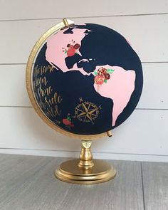 Globe, Guest Book Globe, Custom Painted Globe – Choose Color and Quote, Travel Quote, Guest Wishing Well - Decoration For Home Globe Guest Books, Gold World Map, Painted Globe, Hand Painted, Globe Crafts, Globe Art, Wood Wedding Signs, World Globes, Decoration Originale