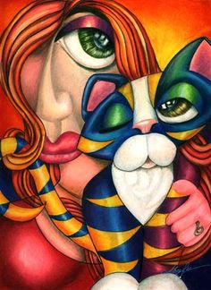 Cubism. Cat and woman.