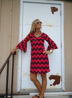 Pink Day Dress - Pink & Black Crochet Bell