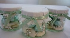 Mint/Sage Green and Ivory filled sweet jar wedding favour