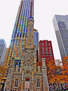 I love the contrast of the elegant Chicago Water Tower with its castle-like turrets surrounded by towering glass and steel skyscrapers. Chicago Travel, Chicago City, Chicago Illinois, Chicago Skyline, Chicago Photography, City Photography, Saint Tropez, Places To Travel, Places To See