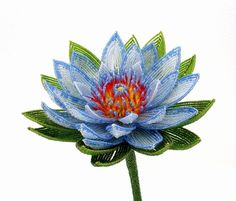 Sacred Blue Lotus Beaded Flower - French Beaded Glass & Wire Flower