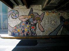 Mosaic under Calle 11 bridge in San Jose