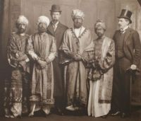 Click to view Virginia Woolf and her friends disguised as Abyssinian princes during the Dreadnought Hoax in 1910 (Virginia is the figure on the far left)