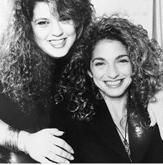 Gloria and her sister. This is so 80's lol