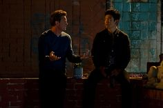 Ryan and Steven meet in an abandoned lot for some awkward bro time. #RyanKing #MatthewPerry #JohnCho #GoOn
