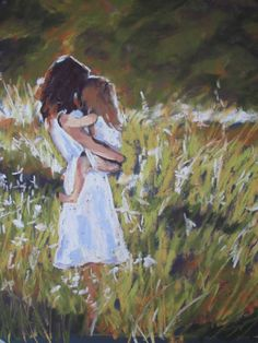 Painting of Mother and Daughter | pastel on sanded paper 8″x10″ Daily Painting#2