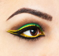 Jamaican eye make up. Could be used for a make up on Brasil.