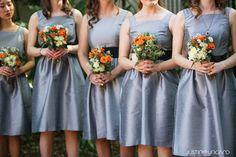 grey bridesmaid dresses with orange bouquets, Kennedy School Wedding