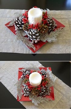 con edi con e 121 absolutely stunning ideas for christmas table decorations page 14 Christmas Candle Decorations, Christmas Candles, Christmas Wreaths, Christmas Ornaments, Christmas Berries, Advent Wreaths, Christmas Projects, Christmas Crafts, Nordic Christmas