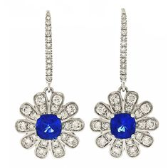 Spark Diamond and Sapphire Drop Earrings in White Gold | From a unique collection of vintage dangle earrings at https://www.1stdibs.com/jewelry/earrings/dangle-earrings/