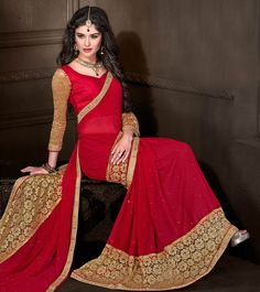 #Red Embroidered #Chiffon #Saree by #Viva N #Diva at #Indianroots