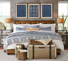 Pia Medallion Quilt & Sham from Pottery Barn. Shop more products from Pottery Barn on Wanelo. Rustic Master Bedroom, Home Bedroom, Bedroom Decor, Bedroom Furniture, Wall Decor, Dark Furniture, Bedroom Ideas, Pottery Barn Bedrooms, Organic Duvet Covers