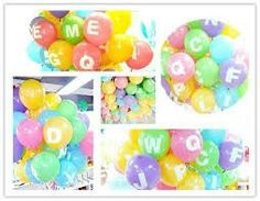Letters on balloons