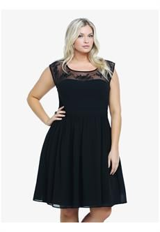 Plus Size Floral Embroidered Mesh Illusion Dress