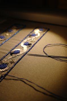 Working on something blue . Tambour Beading, Tambour Embroidery, Couture Embroidery, Embroidery Works, Embroidery Applique, Embroidery Patterns, Crazy Quilting, Couture Beading, Lesage