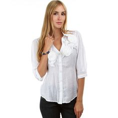 Women's Button-Up Blouse With Ruffles by Fashion Club USA on Opensky