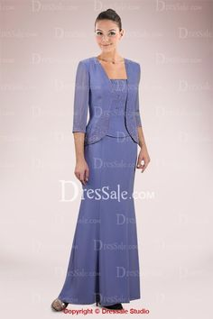 Modest Mother of the Bride Dress with Beaded Appliques