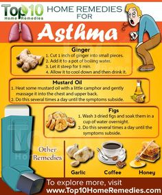 home remedies for asthma-- I will try this ginger tea: Cut one inch of ginger into small pieces and add it to a pot of boiling water. Let it steep for five minutes, allow it to cool down and then drink it.