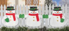 Snowmen Holding Hands Holiday Fence Bunting