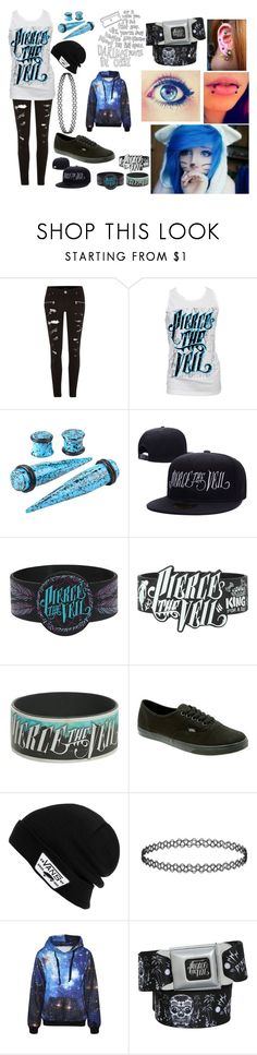 """Pierce the Veil"" by abipatterson ❤ liked on Polyvore featuring River Island, Retrò, Hot Topic, Vans, emo and scene"