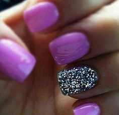 Purple with black and silver accent nail
