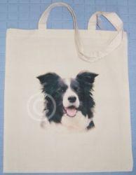 BORDER COLLIE - COTTON DOG SHOULDER BAG doggy TOTE