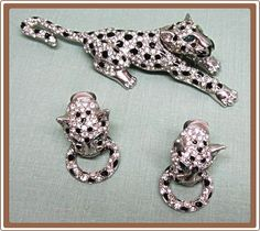 Love these! Magnificent Vintage Figural Leopard Rhinestone Pin and Earrings from COBAYLEY on Ruby Lane