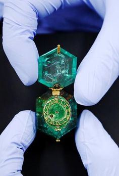 Treasure from London's mysterious Cheapside Hoard: The Colombian emerald watch. A Jeweler carved a single emerald INTO A WATCH.