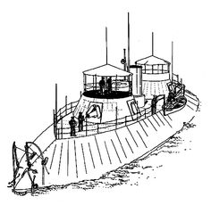 USS Keokuk.  Isometric view showing whaleback form of deck: drawing by Robert MacBride, from Civil War Ironclads (Philadelphia: Chilton Books, 1962).    Union ironclad fleet standing in to bombard Charleston Harbor forts - old illustration