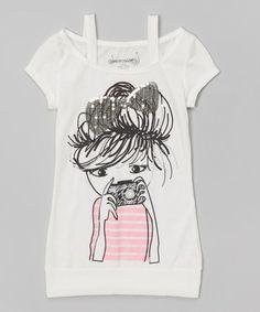 Another great find on #zulily! Vanilla Camera Girl Off-Shoulder Tee - Girls #zulilyfinds