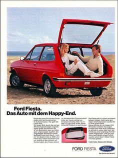Ford Fiesta throw back ad. Check out the sleek new moon roof feature. Ford Motor Company, Car Ford, Ford Gt, Auto Union, Volkswagen, Ad Car, Ford Classic Cars, Car Advertising, Old Ads