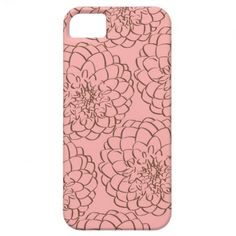 Elegant Pink and Brown Flower Sketch Drawing iPhone 5 Cases