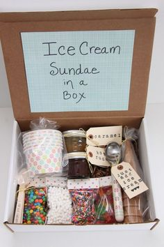 This awesome gift idea would cheer anyone up! Ice Cream Sundae in a Box Gift Idea. So cool!