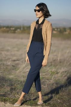 Argent's Cropped Trouser and a delicate blouse and cardigan.