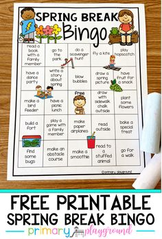 Need something fun to keep your kids busy over spring break? Come grab our Free Printable Spring Break Bingo full of fun activities to keep them busy!