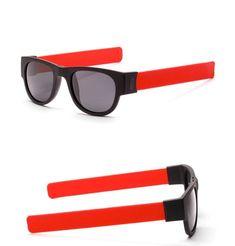 1a59ae7bef339 Folding Polarized Slap Sunglasses Slappable Wrist Bracelet Sun Glasses Men  Women