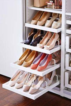 30 Ideas Bedroom Closet Organization Ikea Shoe Storage - Image 3 of 23 Closet Bedroom, Closet Space, Walk In Closet, Bedroom Decor, Bedroom Storage, Ikea Bedroom, Shoe Rack Bedroom, Double Closet, Home Organization