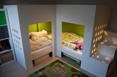Materials: 2 Mydal loftbeds, 1 Trofast storage combination, 1 or 2 Kusiner box storage.  Description: I have two small sons who share a bedroom. To get th