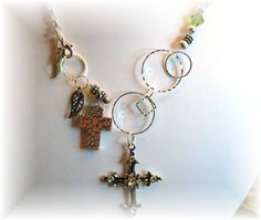 Circles & Crosses Silver Necklace 18 inch by sparklesbydianne, $22.00