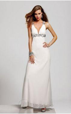 Modest Sheath Floor-length V-neck White Chiffon Dress Classy Prom Dresses 2c61b21af827