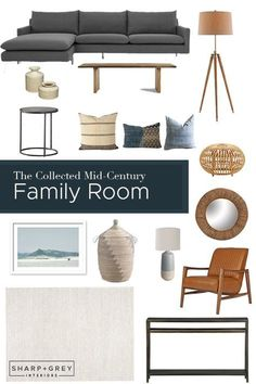 Get the look of this collected Mid-Century family room // Sharp + Grey Interiors. Scandi Living Room, Living Room Modern, Living Room Designs, Living Room Furniture, Living Rooms, Small Living, Grey Interior Design, Interior Design Website, Residential Interior Design