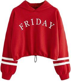 SweatyRocks Womens Hoodie Letter Print Long Sleeve Hooded Sweatshirt Pullover Top