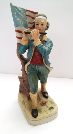 Antique Lefton American Flag Patriot Colonial Man Playing Flute Figurine Statue #Colonial #Lefton