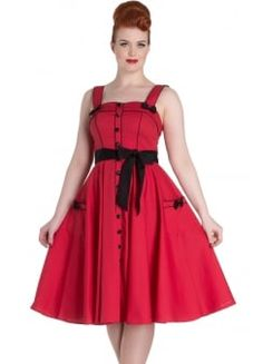 8c8e6798b1 Hell Bunny Pinup Red Martie 50 s Swing Dress Robes Pin Up