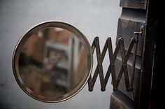 Accordian Mirror : 20th Century Vintage Industrial Modern 50s Style