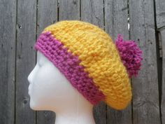 2 color slouchy beanie with pom pom chunky crochet by CrochetByMel Chunky Crochet, Crochet Beanie, Knitted Hats, Crochet Hats, Slouchy Beanie, Ear Warmers, 2 Colours, Etsy Seller, Etsy Shop