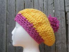 2 color slouchy beanie with pom pom chunky crochet by CrochetByMel