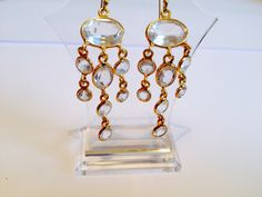 Rock crystal tassel earrings in gold vermeil!