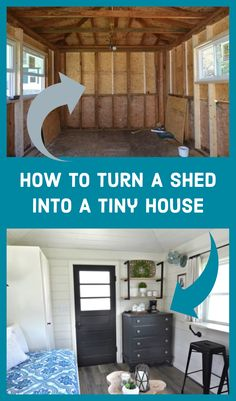 Tiny homes are becoming more and more popular these days, and if you're looking for an inexpensive option, consider converting your shed into a tiny house. Cheap Tiny House, Shed To Tiny House, Tiny House Cabin, Tiny House Living, Tiny House Plans, Tiny House Design, Shed Turned House, Shed Into House, Portable Tiny Houses